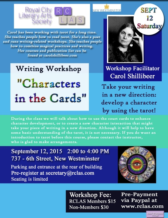 Carol Shillibeer Tarot Workshop Sat SEPT 12 2015 copy