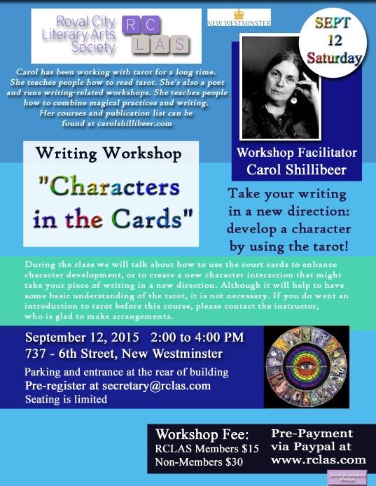 Carol Shillibeer Tarot Workshop Sat SEPT 12 2015 copy