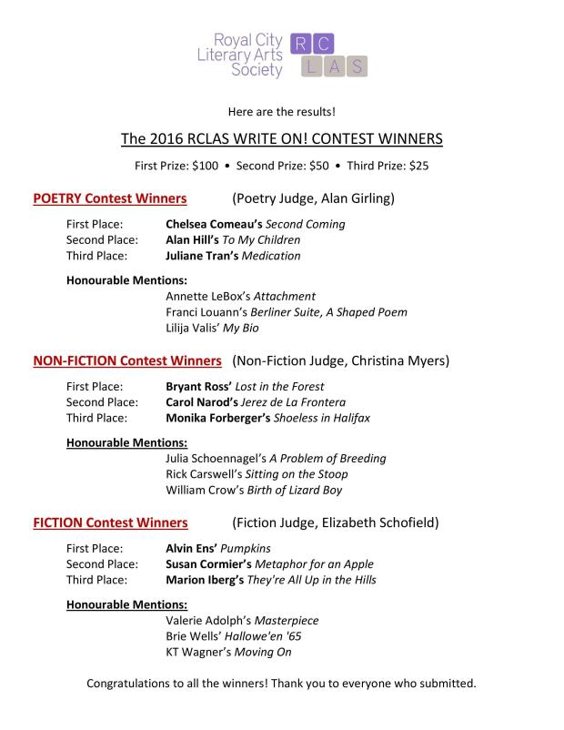 RCLAS Write on Contest 2016 WINNERS AND HM's