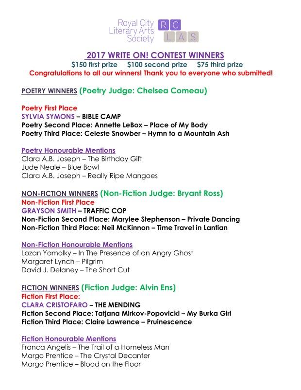 2017 Writeon Winners and Hms List