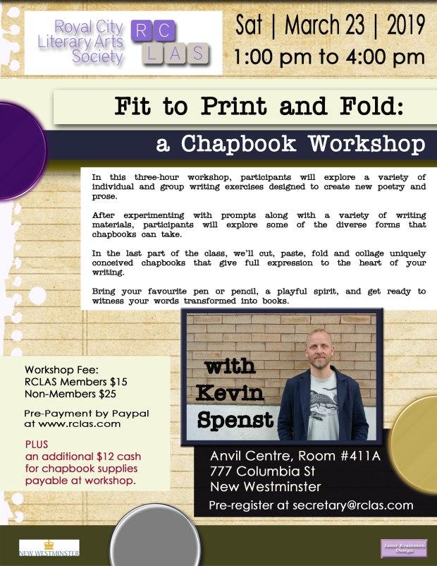 Kevin Spenst CHAPBOOK Workshop March 23 2019