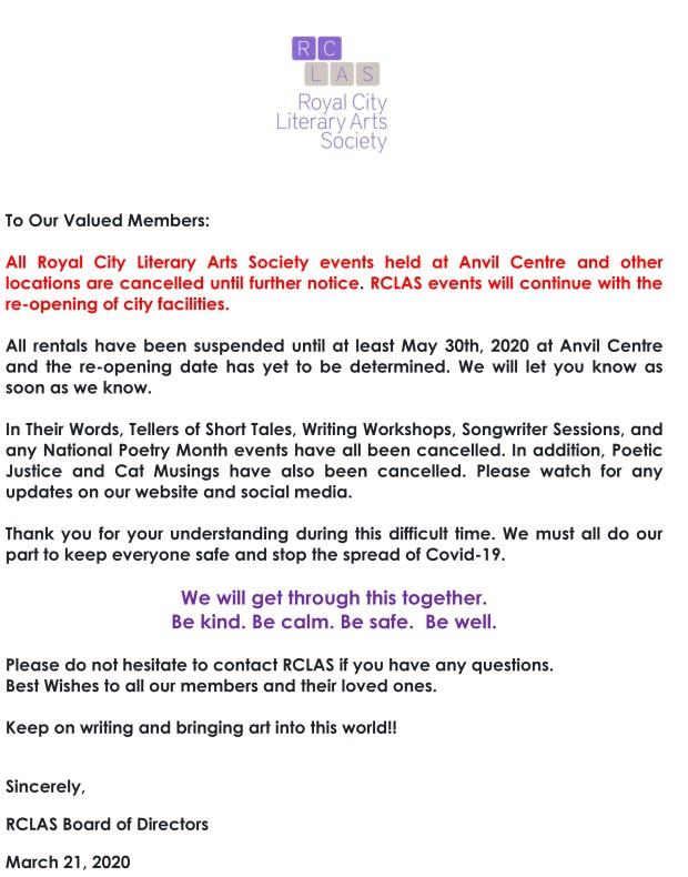March 2020 Ezine Letter Covid 19-1